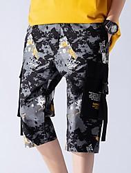 abordables -Hombre Básico Shorts Pantalones - Patrón Azul Piscina