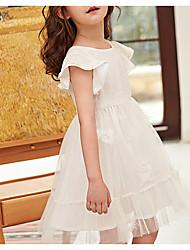 お買い得  -子供 女の子 ソリッド ドレス ホワイト