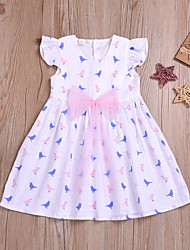 levne -Dítě Dívčí Aktivní Tisk Mašle / Nabírané šaty Bez rukávů Nad kolena Bavlna Šaty Bílá