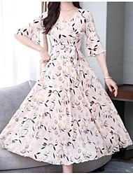 hesapli -Kadın midi şifon elbise v boyun şifon allık pembe beyaz m l xl xxl