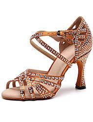 Недорогие -Жен. Танцевальная обувь Шёлк Обувь для латины Crystal / Rhinestone На каблуках Тонкий высокий каблук Персонализируемая Черный / Коричневый / Выступление