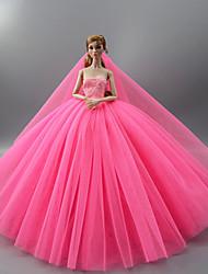 Недорогие -Платье куклы Вечеринка Свадьба Для Barbie Сплошной цвет Лиловый Синий Розовый Сатин / тюль Полиэстер Одежда 1 X Doll Для Девичий игрушки куклы