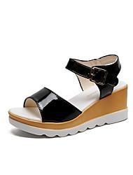 hesapli -Kadın's Ayakkabı PU Yaz Günlük Sandaletler Dolgu Topuk Günlük için Siyah / Mavi / Pembe