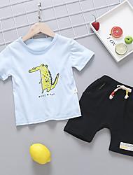 abordables -bébé Garçon Basique / Chic de Rue Imprimé / Mosaïque Mosaïque / Imprimé / Cordon Manches Courtes Normal Normal Coton Ensemble de Vêtements Blanc