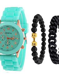 hesapli -Erkek Spor Saat Quartz Silikon Siyah / Beyaz / Mavi Hayır Kronograf Sevimli Yaratıcı Analog Yeni gelen Moda - Yeşil Mavi Pembe Bir yıl Pil Ömrü