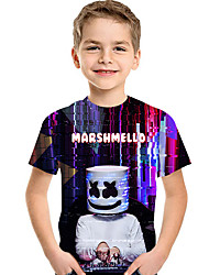 cheap -Kids / Toddler Boys' Active / Basic Geometric / Print Print Short Sleeve Polyester / Spandex Tee Black