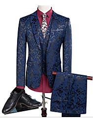 billige -Svart / Mørk Marineblå Mønstret Slank Fasong Polyester Dress - Med hakk Enkelt Brystet To-knapp
