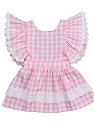 cheap -Baby Girls' Active / Basic Houndstooth / Plaid Lace Sleeveless Cotton Dress Blushing Pink