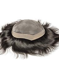 Недорогие -Муж. Натуральные волосы Накладки для мужчин Прямой Моноволокно Новое поступление / раскраска / Молодежный / Черный