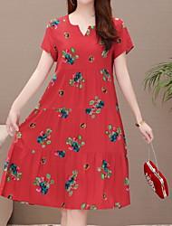 baratos -vestido de mudança na altura do joelho das mulheres u pescoço algodão vermelho xl xxl xxxl xxxxl