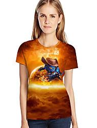 abordables -Tee-shirt Femme, 3D / Graphique / Bande dessinée Imprimé Orange XXXL
