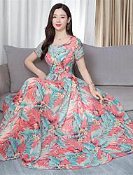 זול -מידי דפוס שמלה סווינג בוהו אלגנטית בגדי ריקוד נשים