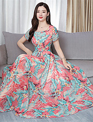 cheap -Women's Boho Elegant Swing Dress Print Black Red Blushing Pink XL XXL XXXL
