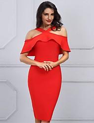 preiswerte -knielanges, figurbetontes Damenkleid mit Neckholder aus Baumwolle weiß rot schwarz s m l xl