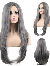halpa -Synteettiset peruukit Suora Tyyli Keskiosa Suojuksettomat Peruukki Harmaa Harmaa Synteettiset hiukset 24 inch Naisten Muodikas malli / Pehmeä / Party Harmaa Peruukki Pitkä Cosplay-peruukki