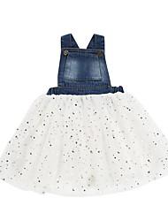 billige -Børn / Baby Pige Aktiv Hvid Ensfarvet Net Uden ærmer Knælang Bomuld Kjole Hvid