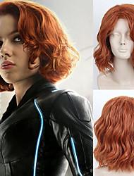 halpa -Synteettiset peruukit Kihara Tyyli Sivuosa Suojuksettomat Peruukki Burgundi Ruskea / Burgundy Synteettiset hiukset 16 inch Naisten Muodikas malli / Party / Naisten Burgundi Peruukki Keskikokoinen