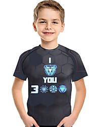 abordables -Enfants / Bébé Garçon Actif / Basique Géométrique / Imprimé Imprimé Manches Courtes Polyester / Spandex Tee-shirts Gris