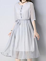 hesapli -Kadın midi gevşek salıncak şifon elbise şifon gri m l xl xxl