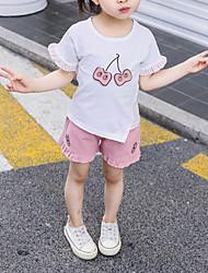 abordables -Bebé Chica Activo / Básico A Rayas / Estampado / Retazos Retazos / Bordado Manga Corta Regular Corto Algodón Conjunto de Ropa Blanco