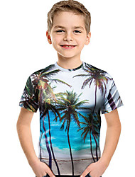 cheap -Kids / Toddler Boys' Active / Boho Geometric / Print Print Short Sleeve Polyester / Spandex Tee Light Blue