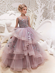 cheap -Princess Maxi Flower Girl Dress - Lace / Organza / Tulle Sleeveless Jewel Neck with Appliques / Lace by LAN TING Express
