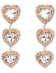tanie -Damskie Kryształ Kolczyki drop Kolczyki zwisają Kolczyki Serce Prosty Europejskie Moda Śłodkie Biżuteria Złoty / Srebrny Na Codzienny Ulica Święto Praca Bar 1 para