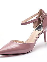 ราคาถูก -สำหรับผู้หญิง หนังสิทธิบัตร ฤดูใบไม้ผลิ & ฤดูใบไม้ร่วง หวาน / minimalism รองเท้าส้นสูง ส้น Stiletto Pointed Toe หัวเข็มขัด ขาว / สีม่วงอ่อน / สีชมพูอ่อน