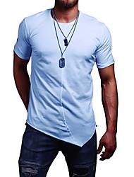 billige -Herre - Ensfarvet T-shirt Hvid L