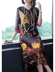 abordables -Mujer Sofisticado Elegante Recto Vestido - Estampado, Geométrico Midi