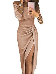 Недорогие -Жен. Изысканный Оболочка Платье - Однотонный Цветочный принт, Пэчворк С открытыми плечами Выше колена