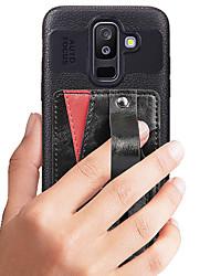 ราคาถูก -Case สำหรับ Samsung Galaxy A8 Plus 2018 / A8 2018 / A6+ (2018) Card Holder / Shockproof / Dustproof ปกหลัง สีพื้น Hard หนัง PU สำหรับ A6+ (2018) / A8 2018 / A8+ 2018