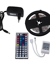 abordables -5m Bandes Lumineuses LED Flexibles / Barrette d'Eclairage RVB 300 LED 5050 SMD 1 44Keys Télécommande / Alimentation 1 X 12V 3A RVB Soirée / Décorative / Connectible 12 V 1 set