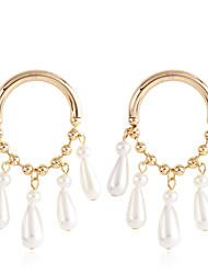 tanie -Damskie Retro Kolczyki drop Kolczyki zwisają Sztuczna perła Kolczyki Kropla Prosty Klasyczny Vintage Europejskie Elegancja Biżuteria Biały Na Impreza Codzienny Karnawał Ulica Praca 1 para