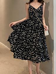 halpa -naisten midi swing mekko hihna musta beige yksi koko