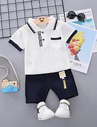 abordables -bébé Garçon Basique / Chic de Rue Imprimé / Mosaïque Mosaïque / Imprimé Manches Courtes Normal Normal Coton Ensemble de Vêtements Orange