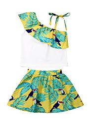 abordables -Enfants / Bébé Fille Actif / Bohème Fleur Mosaïque / Imprimé Sans Manches Coton Ensemble de Vêtements Vert