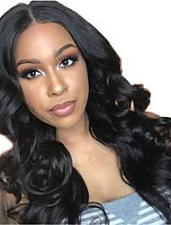 ieftine -Păr Natural Față din Dantelă Perucă Partea gratuită stil Păr Brazilian Buclat Ondulat Negru Perucă 130% Densitatea părului cu păr de păr Linia naturală de păr pentru Femei de Culoare 100% Virgin 100