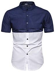 ราคาถูก -สำหรับผู้ชาย เชิร์ต Street Chic ลายบล็อคสี สีน้ำเงิน US38