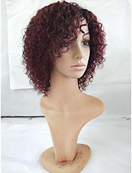Недорогие -Человеческие волосы без парики Натуральные волосы Кудрявый Боковая часть Женский Разноцветный Короткие Машинное плетение Парик Бразильские волосы Жен.