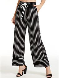 levne -Dámské Základní Široké nohavice Kalhoty - Proužky Černá