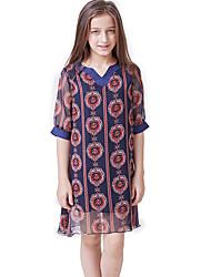 abordables -Enfants Fille Bohème Imprimé Imprimé Manches Courtes Longue Polyester Ensemble de Vêtements Rouge
