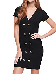 cheap -Women's Sophisticated Elegant Sheath Dress - Solid Colored Black M L XL
