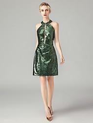preiswerte -Eng anliegend Halter Kurz / Mini Pailletten Kleid mit Paillette durch LAN TING Express