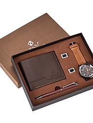 Недорогие -Муж. Нарядные часы Кварцевый Подарочный набор Кожа Коричневый 30 m Секундомер Творчество Новый дизайн Аналоговый Мода минималист - Коричневый Два года Срок службы батареи / Крупный циферблат