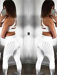 baratos -Mulheres Calças de Yoga Esportes Elastano Calças Roupas Esportivas Pavio Humido Butt Lift Com Stretch