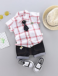 abordables -bébé Garçon Simple / Actif Imprimé / Bloc de Couleur Imprimé Manches Courtes Normal Normal Coton / Lin Ensemble de Vêtements Bleu