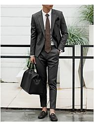 abordables -Marron / Noir / Gris Rayé Coupe Slim Polyester Costume - En Pointe Croisé 2 boutons