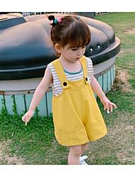 cheap -Toddler Girls' Basic Solid Colored Cotton Overall & Jumpsuit Yellow