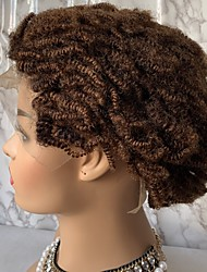 cheap -Virgin Human Hair Remy Human Hair Lace Front Wig Bob Short Bob Free Part style Brazilian Hair Afro Curly Jerry Curl Auburn Brown Wig 130% Density with Baby Hair Normal African American Wig Auburn